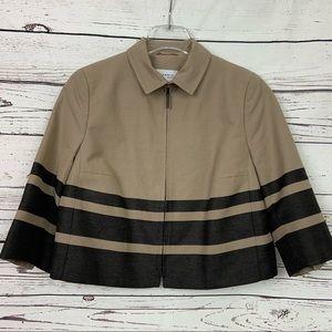 Akris Punto Cropped Jacket Tan Black Stripe